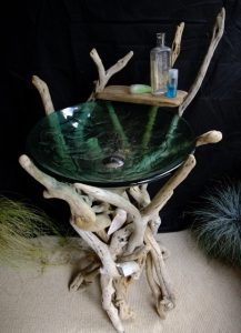 Driftwood bathroom stand with glass basin
